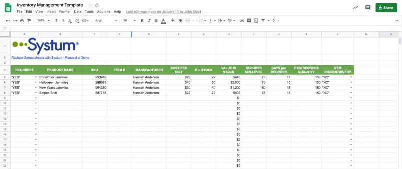 Google Sheets Inventory Template Google Sheets Inventory Template & Management System
