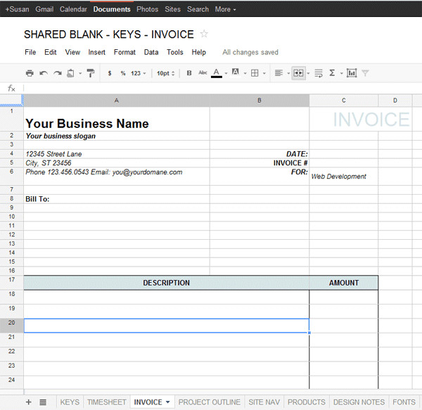Google Sheets Invoice Template Google Docs Templates
