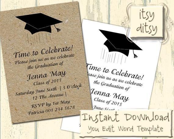 Graduation Invitation Templates Microsoft Word Graduation Invitation Template with A Mortarboard Design