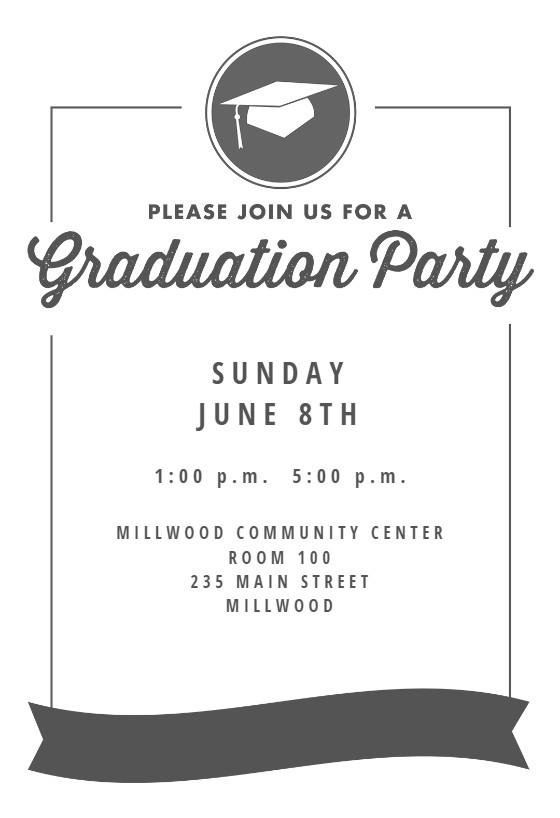 Graduation Invitation Templates Microsoft Word Ribbon Graduation Graduation Party Invitation Template