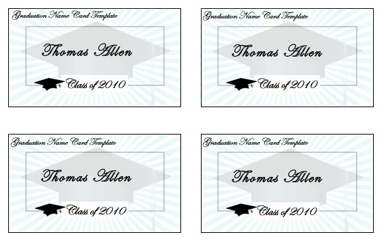 Graduation Name Card Template Birthday Card Template