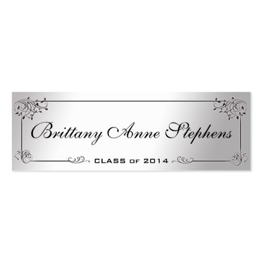 Graduation Name Card Template Elegant Silver Graduation Name Card Insert Double Sided