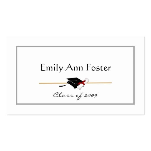 Graduation Name Card Template Personalized Graduation Name Cards Double Sided Standard