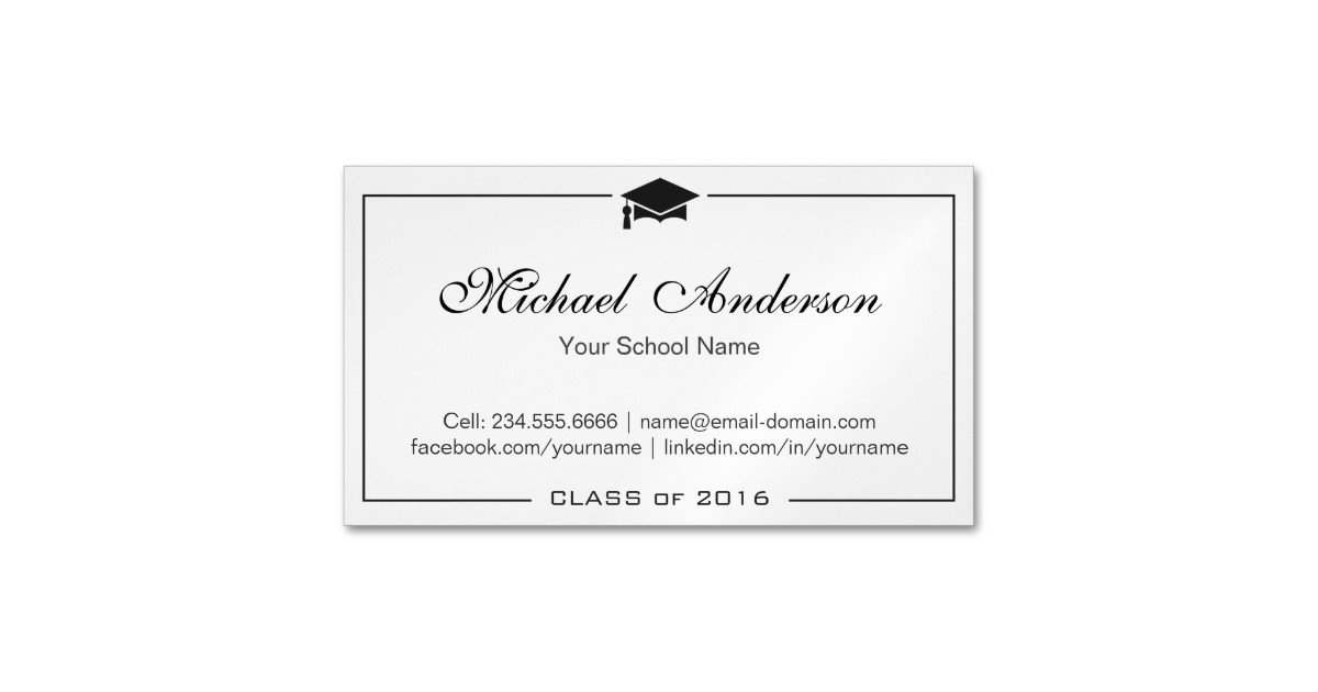 Graduation Name Card Template Simple Clean Black and White Graduation Name Card