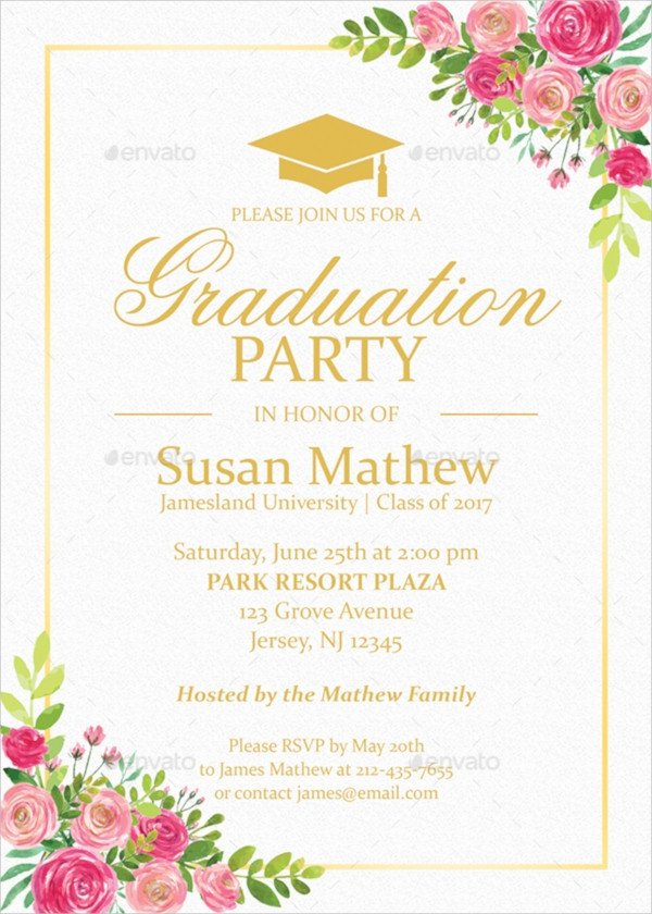 Graduation Party Invitation Template 22 Sample Graduation Invitations Psd Vector Eps Word