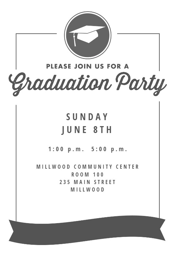 Graduation Party Invitation Template Ribbon Graduation Graduation Party Invitation Template