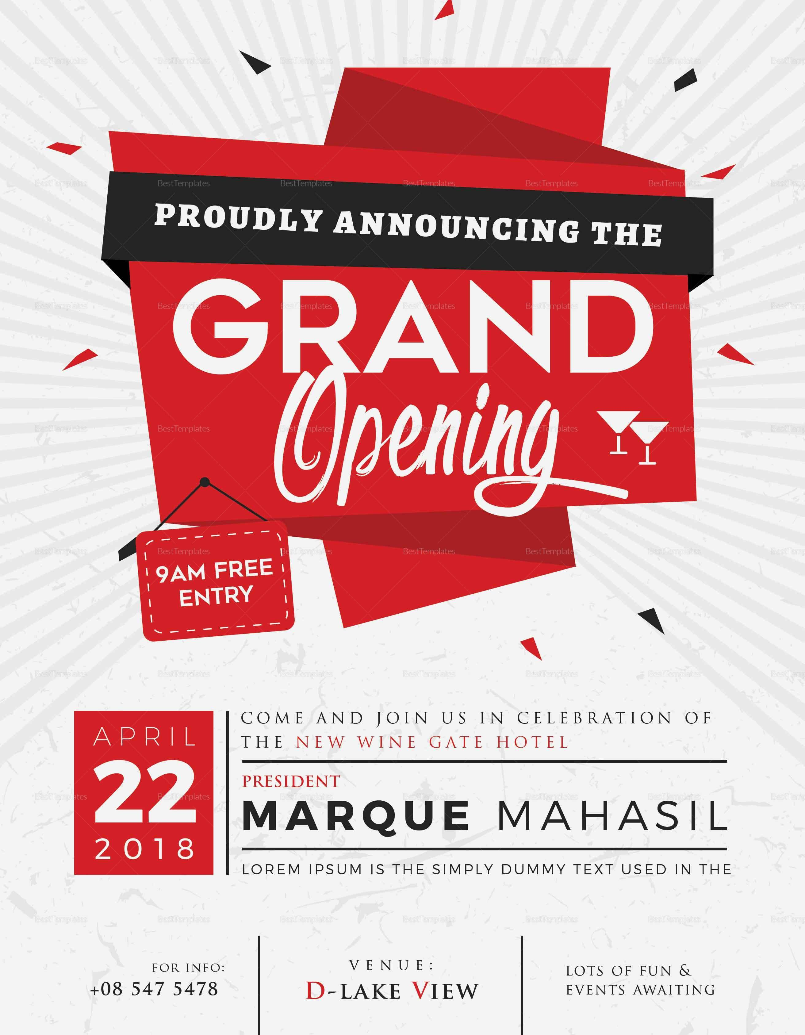 Grand Opening Flyer Template Free Grand Opening Flyer Design Template In Word Psd