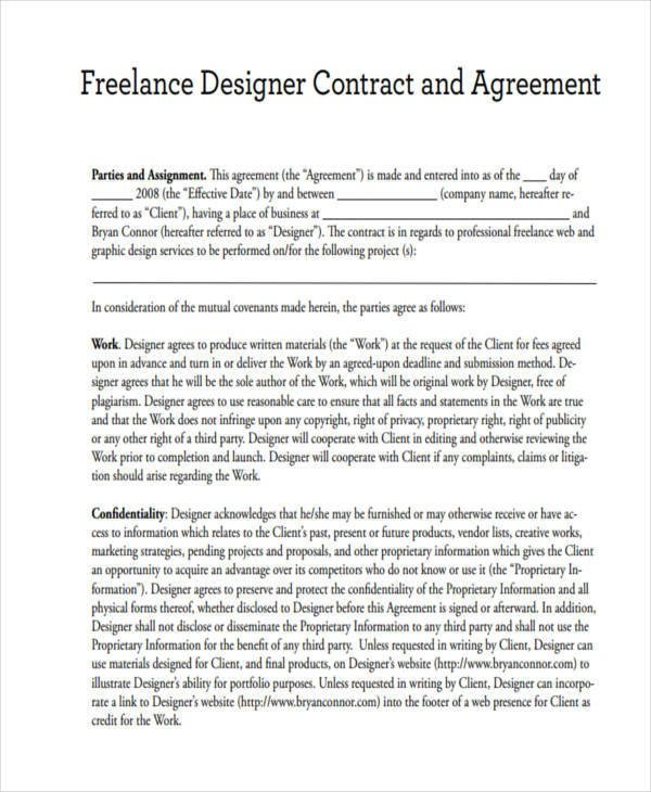 Graphic Design Contract Template 17 Freelance Contract Templates Docs Word Pages