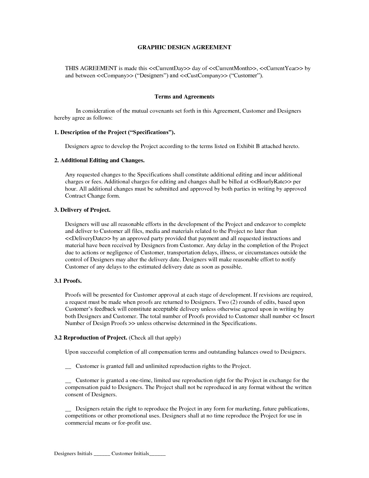Graphic Design Contract Template Graphic Design Freelance Contract
