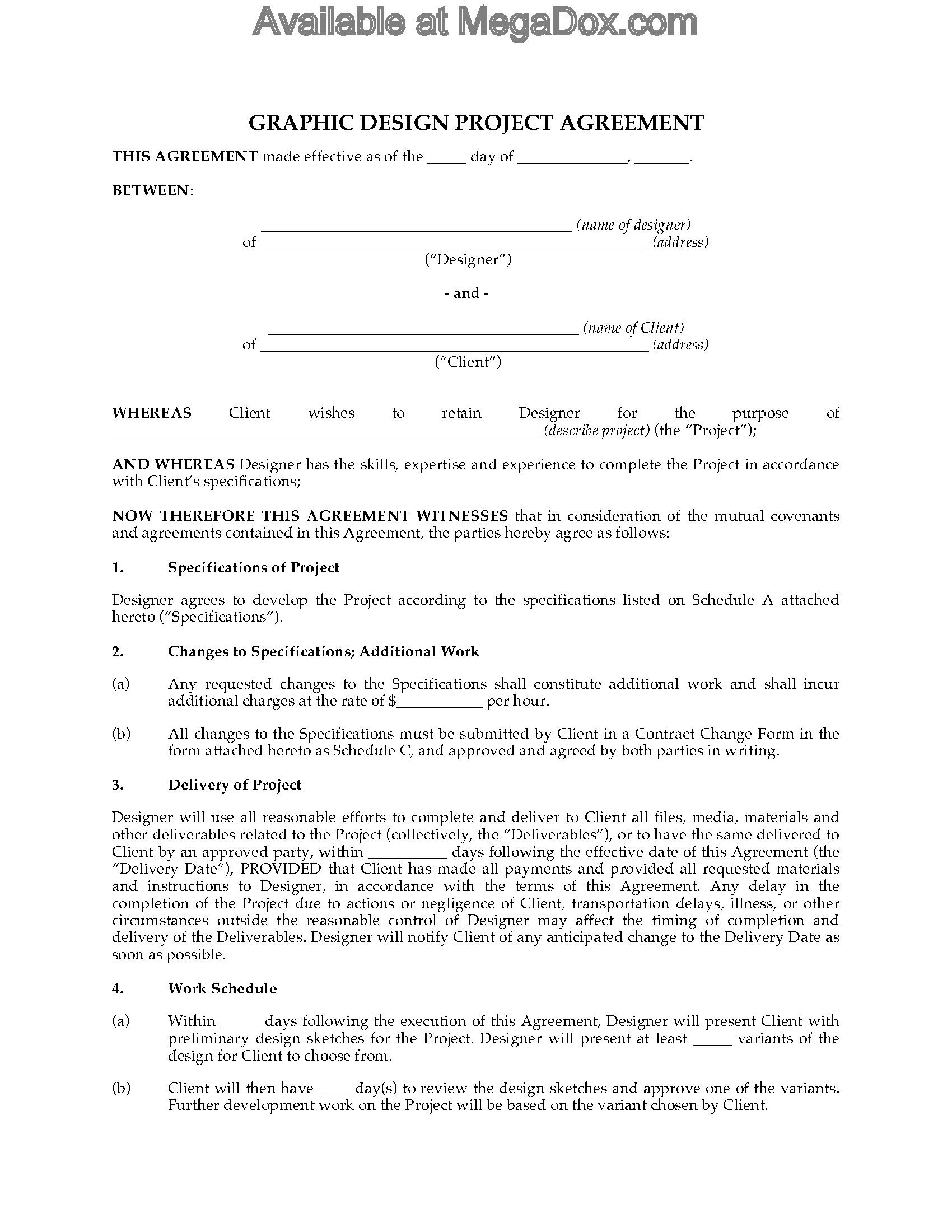 Graphic Design Contract Template Graphic Design Project Agreement