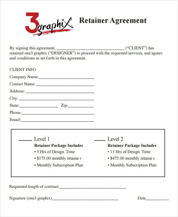 Graphic Design Contract Template Retainer Agreement 7 Free Pdf Doc Download