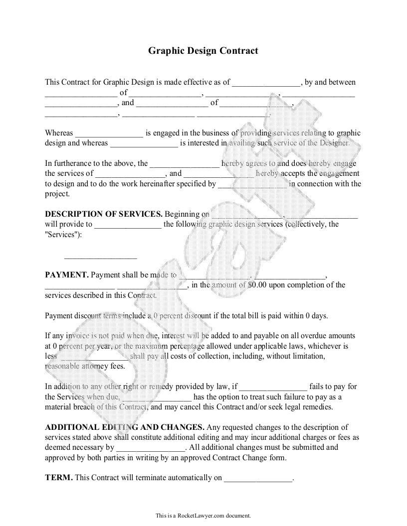 Graphic Design Contract Template Sample Graphic Design Contract form Template