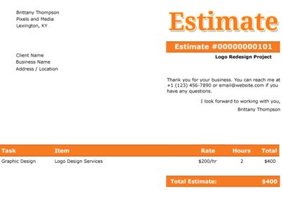 Graphic Design Estimate Template Client Estimate Free Psd Template On Behance
