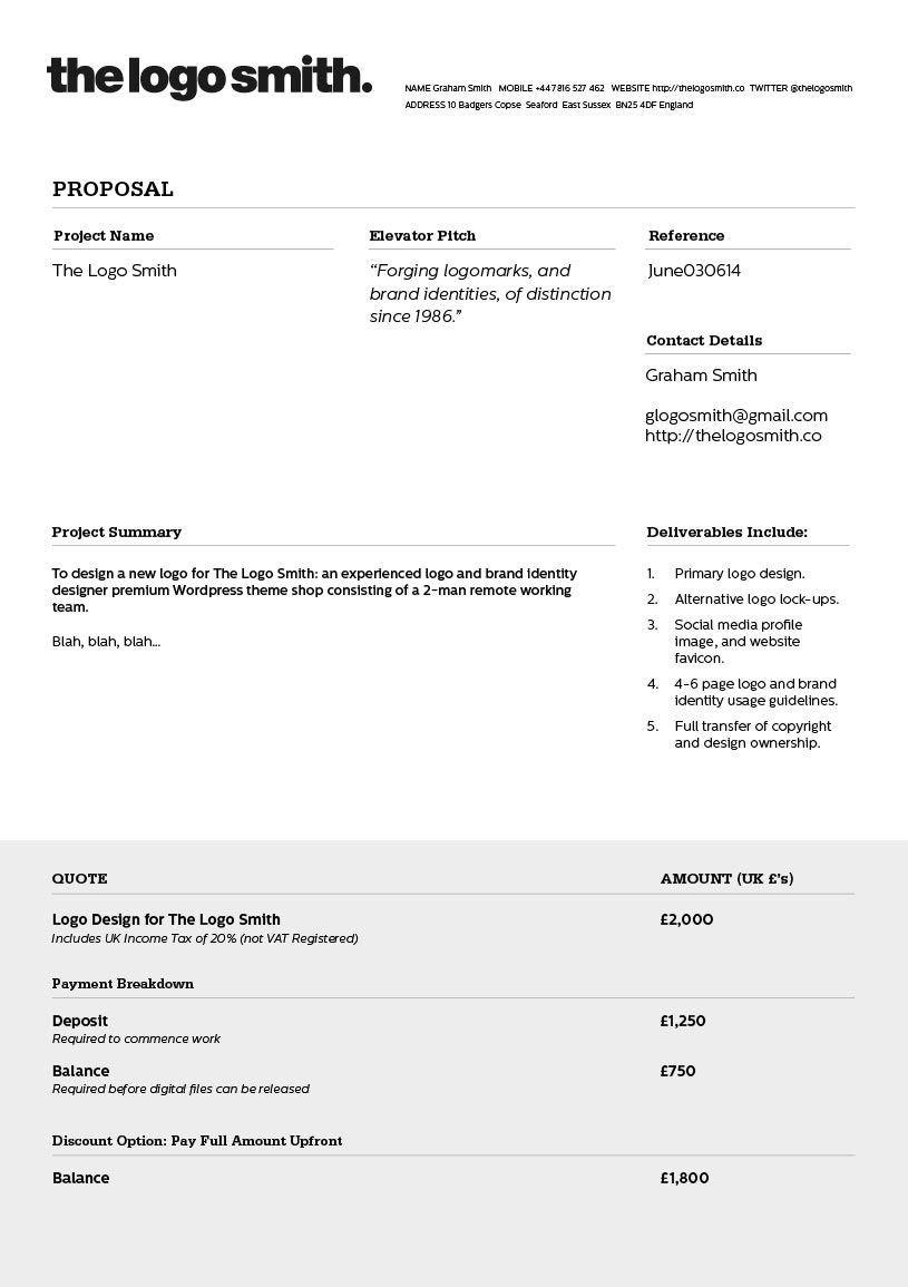 Graphic Design Estimate Template Logo Design Proposal Invoice Template to Download