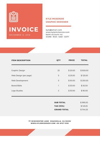 Graphic Design Invoice Template Customize 203 Invoice Templates Online Canva