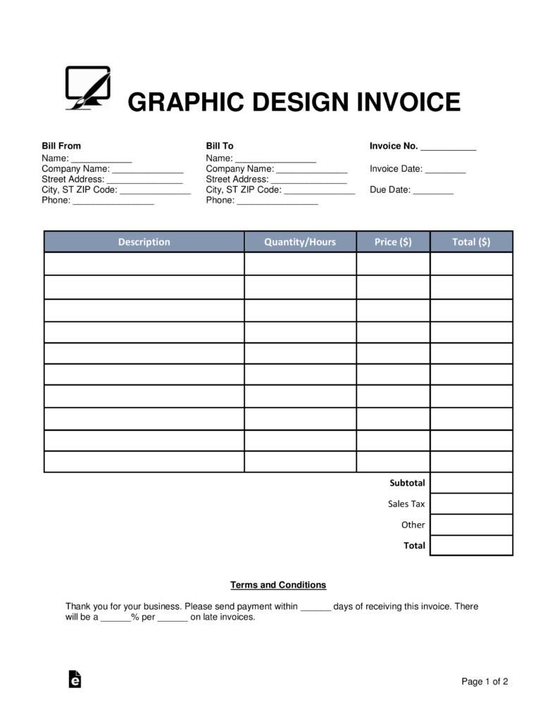 Graphic Design Invoice Template Free Graphic Design Invoice Template Word Pdf