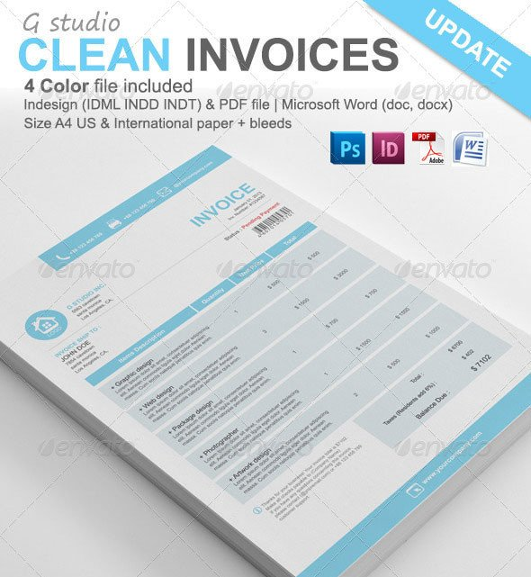 Graphic Design Invoice Template Indesign 20 Creative Invoice & Proposal Template Designs
