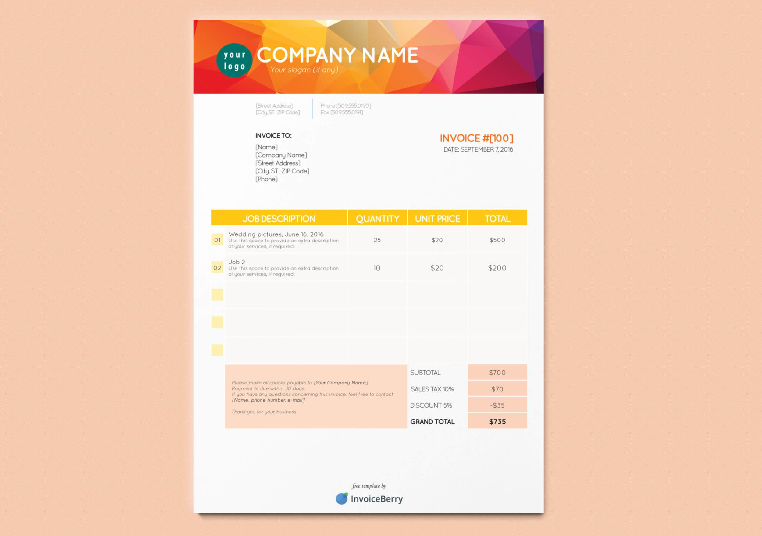 Graphic Design Invoice Template Indesign Free New Indesign Invoice Templates