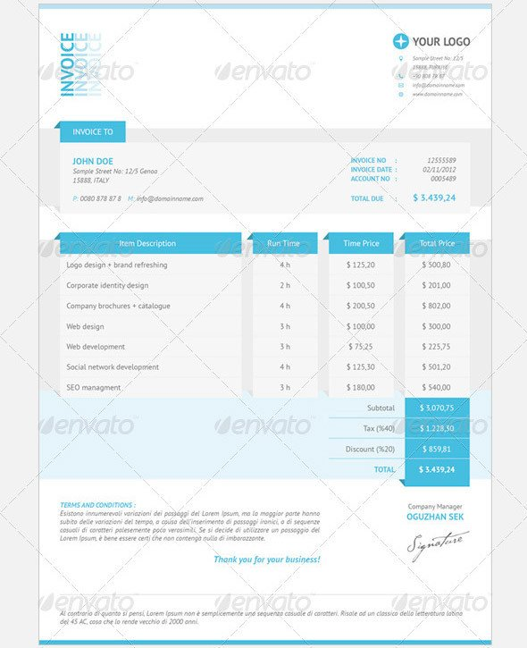 Graphic Design Invoice Template Indesign Graphic Design Invoice Template Indesign