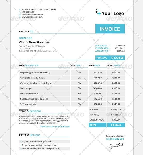 Graphic Design Invoice Template Indesign Indesign Invoice Template Work