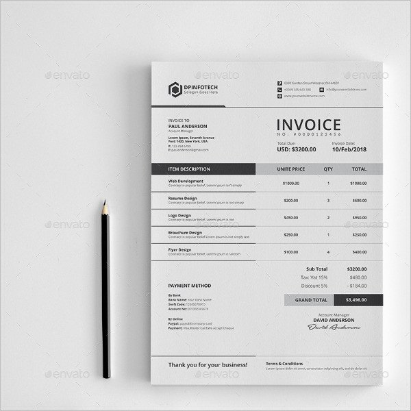 Graphic Design Invoice Template Indesign Invoice Reminder – Estemplate