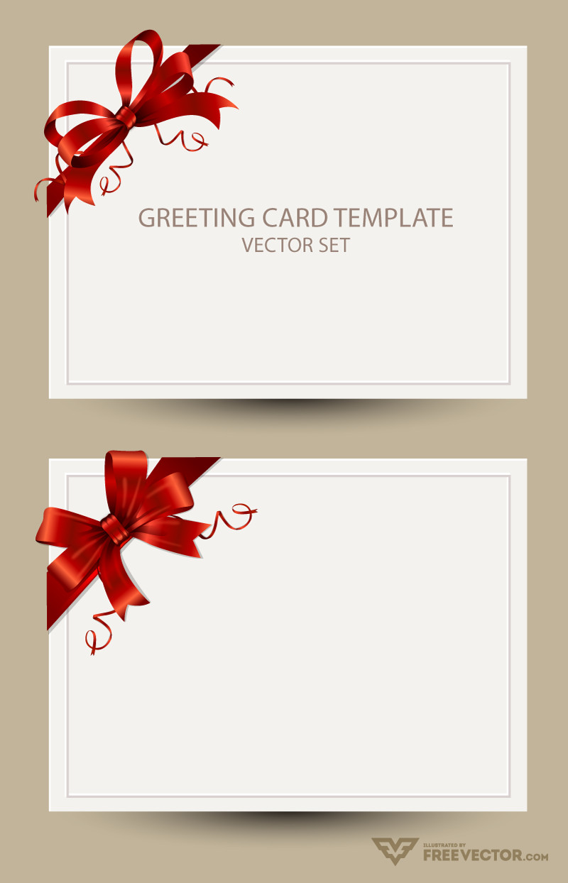 Greeting Card Template Photoshop Freebie Greeting Card Templates with Red Bow – Ai Eps