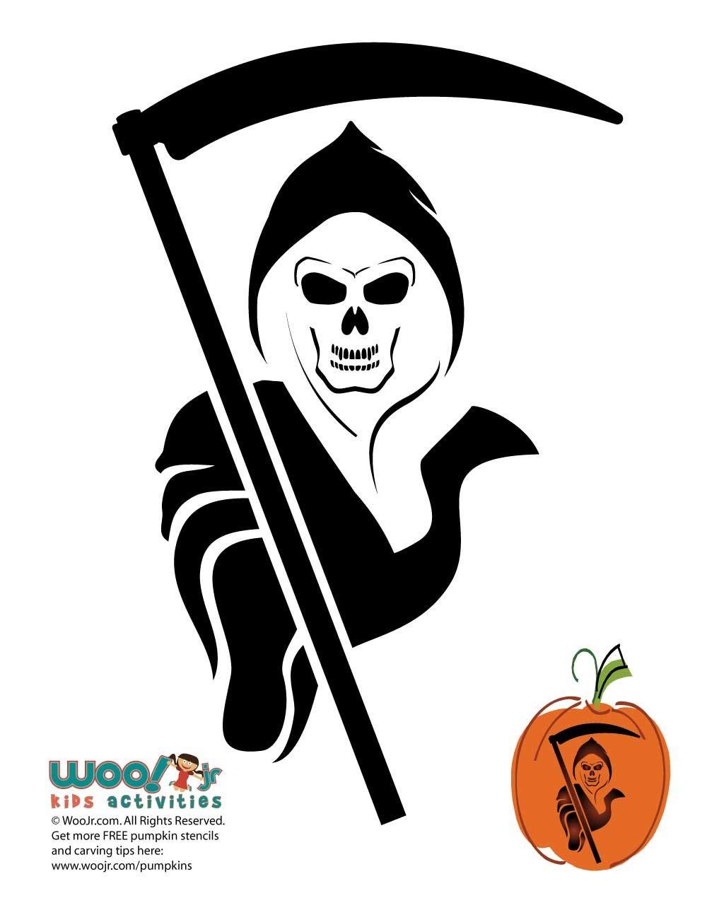 Grim Reaper Pumpkin Pattern Grim Reaper Pumpkin Template to Carve