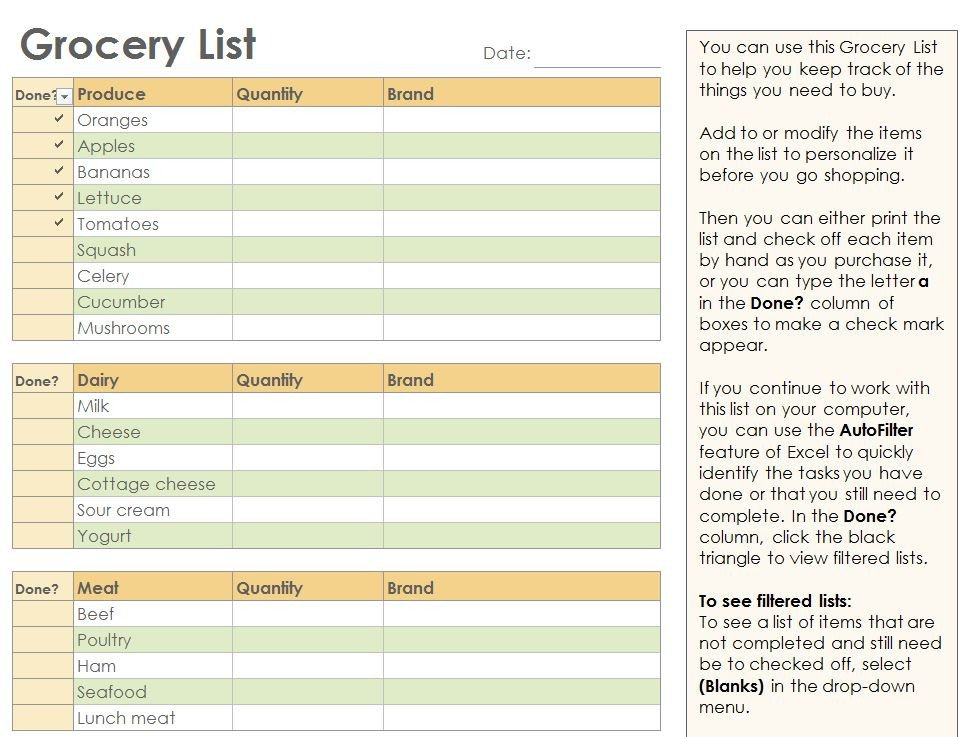 Grocery List Template Excel Grocery Checklist