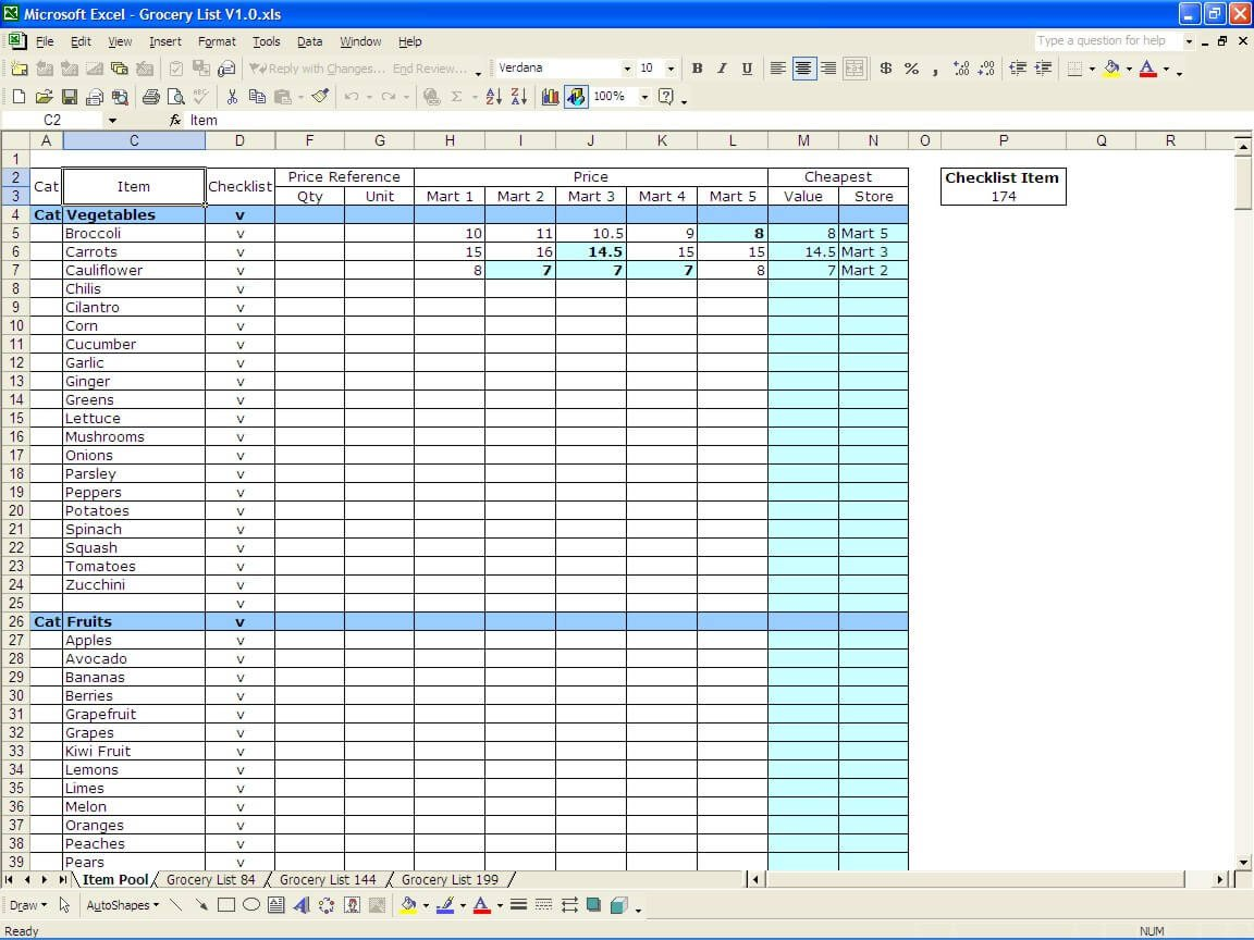 Grocery List Template Excel Grocery List