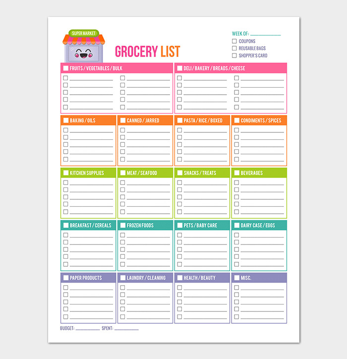 Grocery List Template Excel Grocery List Template 16 Shopping Lists Excel Word Pdf