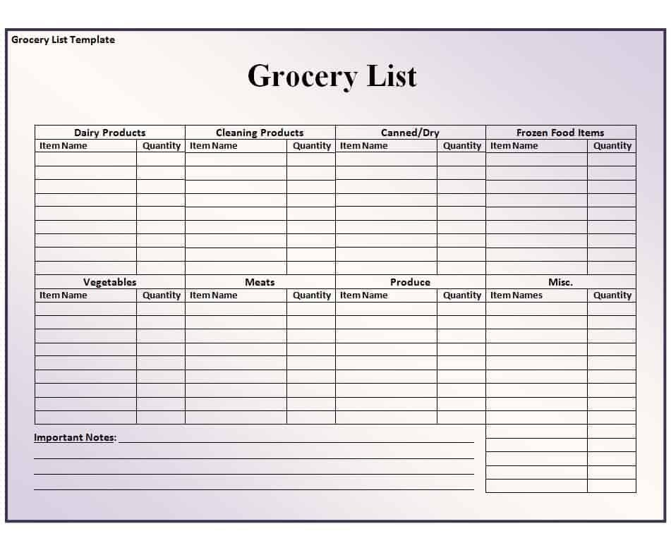 Grocery List Template Excel Grocery List Template Free formats Excel Word