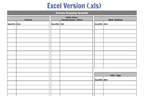 Grocery List Template Excel Grocery Shopping Template My Routine 100 Days Of