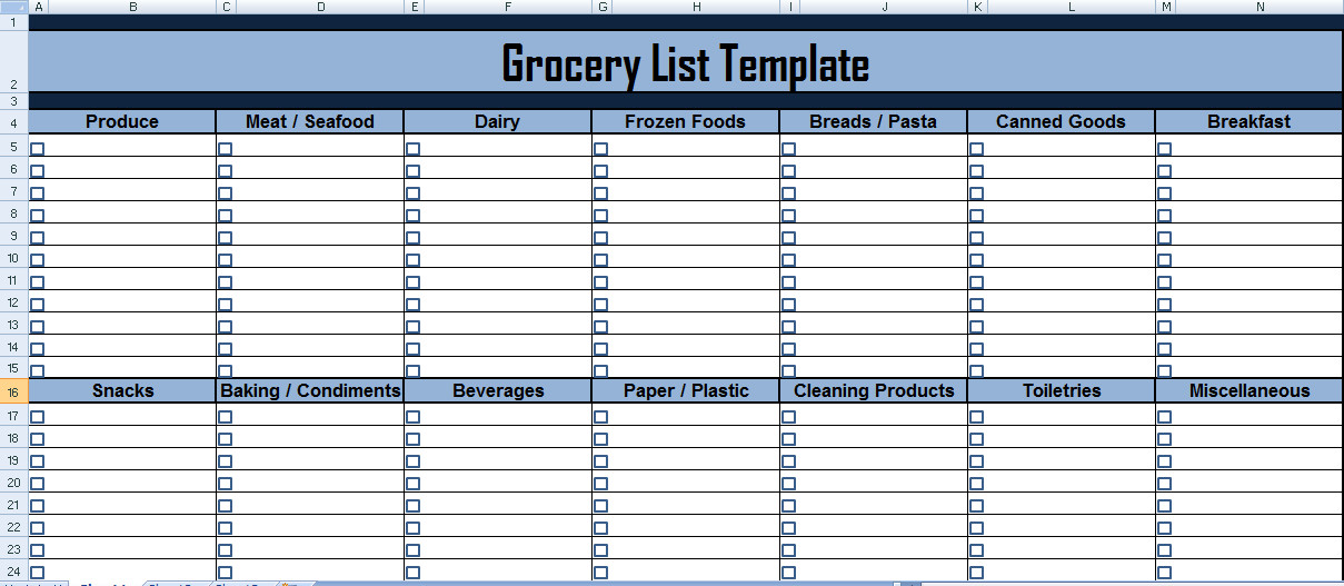 Grocery List Template Excel Project Management Expense Tracking Template