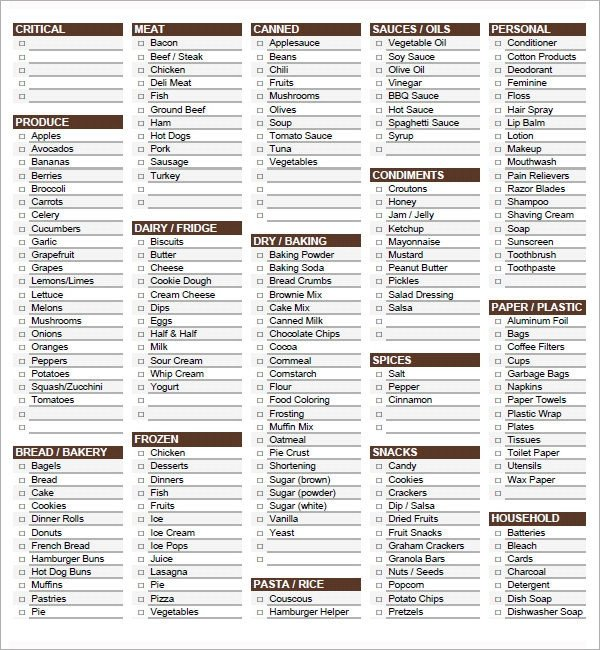 Grocery List Template Excel Sample Grocery List Template 9 Free Documents In Word