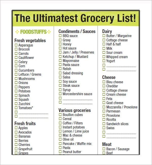 Grocery List Template Free Sample Grocery List Template 9 Free Documents In Word