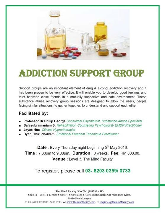 Group therapy Flyers Addiction Group therapy at the Mind Faculty Sdn Bhd Kuala