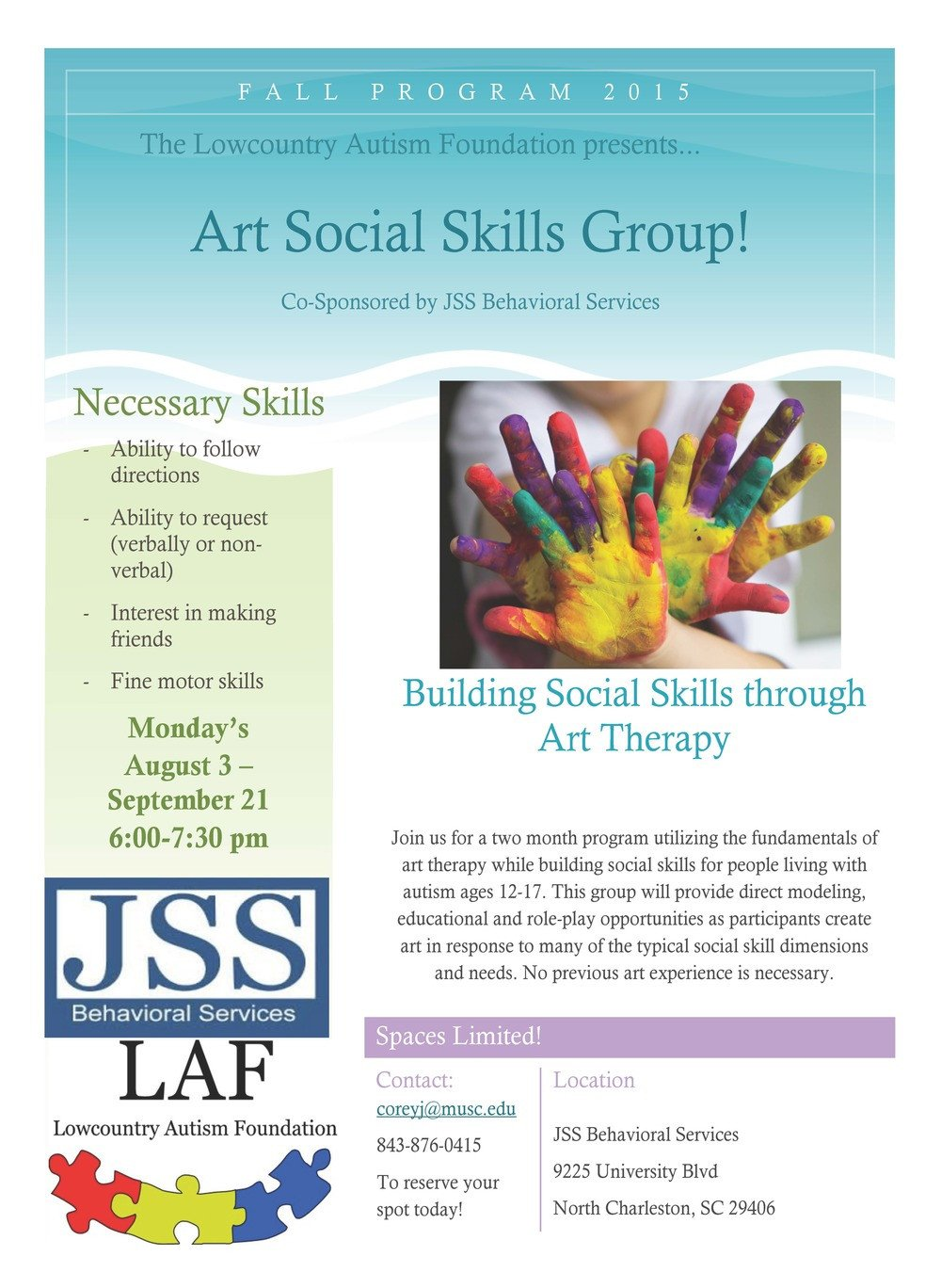Group therapy Flyers Art therapy social Skills Group — Lowcountry Autism Foundation