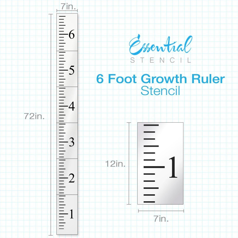 Growth Chart Ruler Template Reusable Growth Chart Ruler Stencil 6 Foot Template