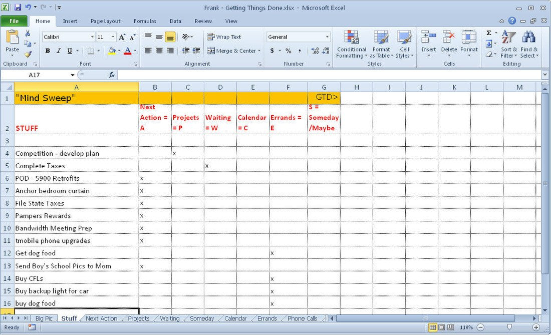 Gtd Project Planning Template Getting Things Done Gtd Excel Template Frank Lio