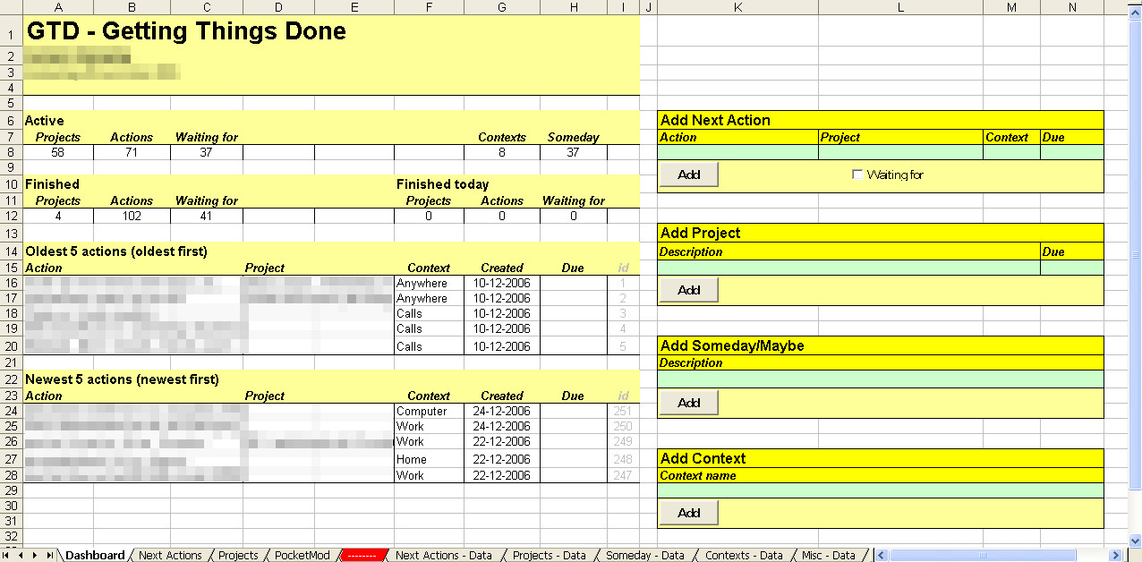 Gtd Project Planning Template Implementing Gtd with Excel Getting Things Done
