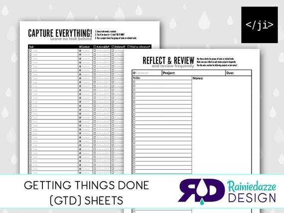 Gtd Project Planning Template Unavailable Listing On Etsy