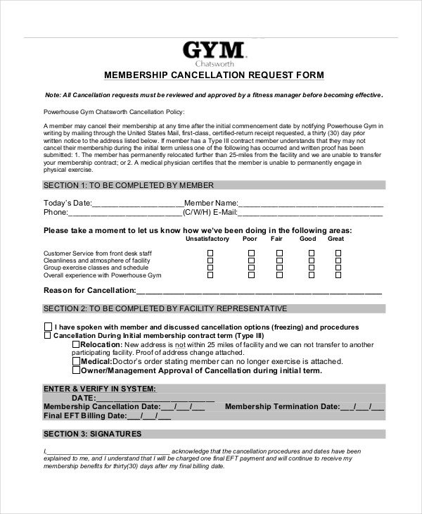 Gym Membership Cancellation Letter 7 Cancellation Letter Templates Pdf Doc
