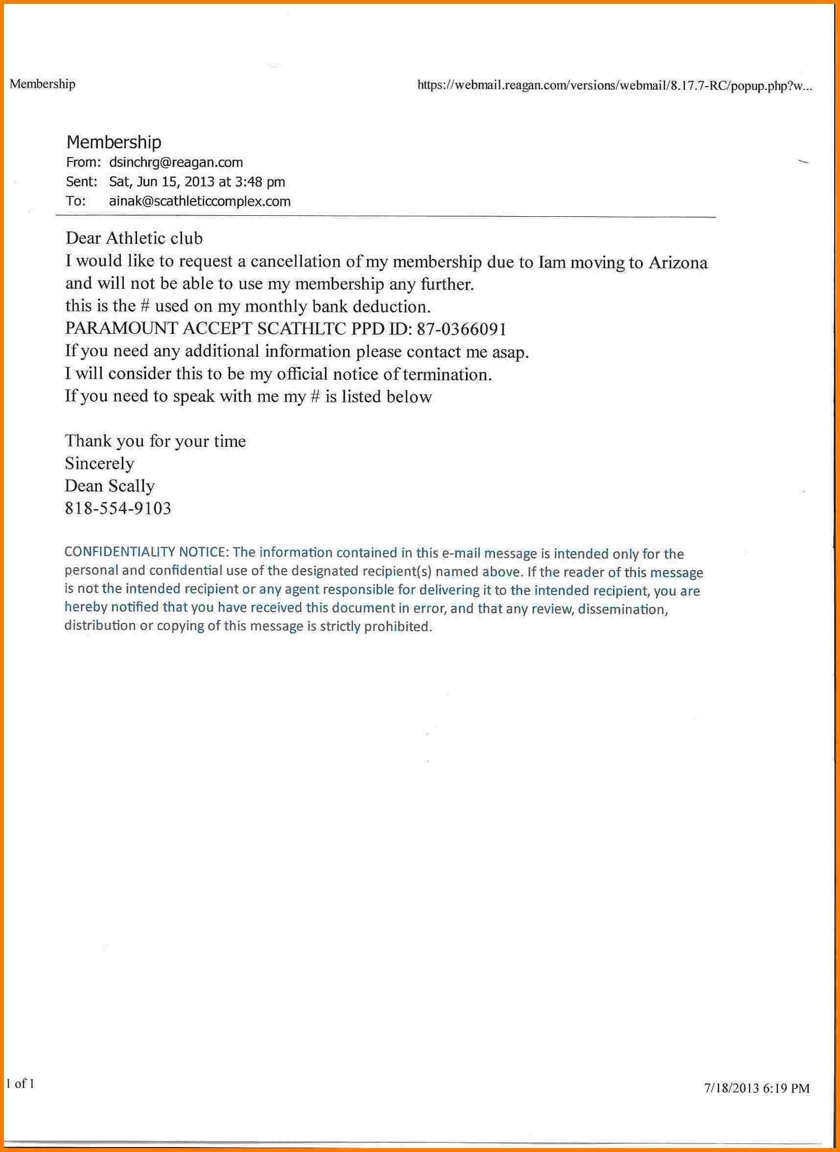 Gym Membership Cancellation Letter 8 Gym Membership Cancellation Letter