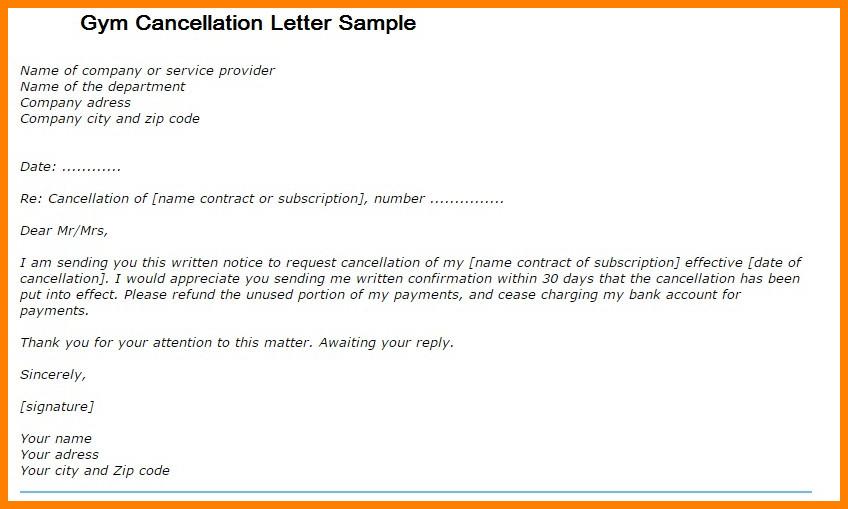 Gym Membership Cancellation Letter 8 Gym Membership Cancellation Letter