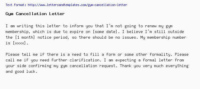 Gym Membership Cancellation Letter Gym Cancellation Letter