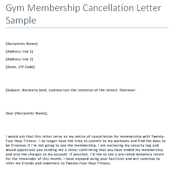 Gym Membership Cancellation Letter Gym Cancellation Letter Writing Professional Letters
