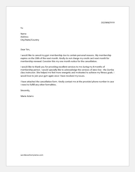 Gym Membership Cancellation Letter Gym Cancellation Letters for Ms Word