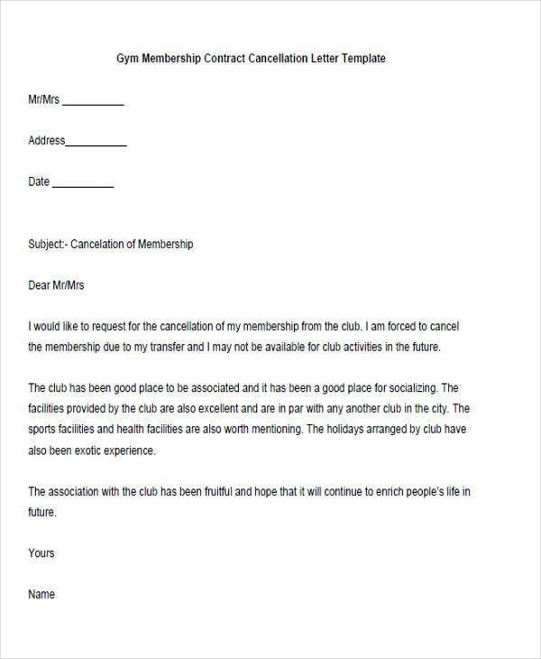 Gym Membership Cancellation Letter Sample Membership Resignation Letter 5 Examples In Pdf