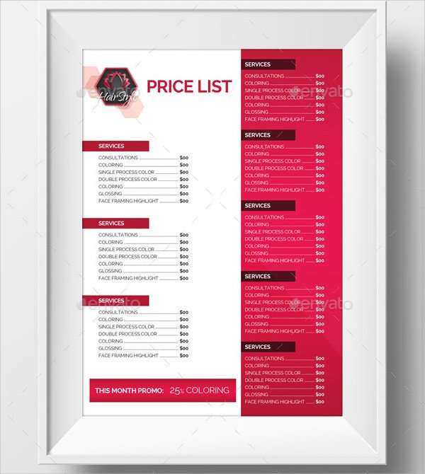 Hair Salon Price List Template 23 Printable Price List Templates Free & Premium Download