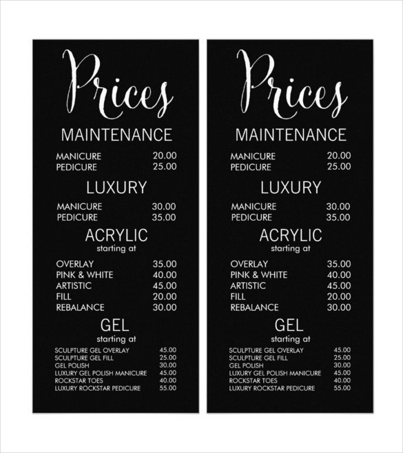 Hair Salon Price List Template 24 Price Menu Templates Free Sample Example format